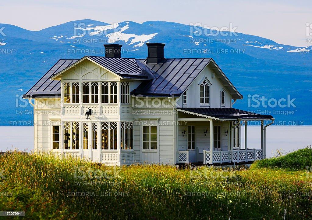 Swedish home at the lake stock photo