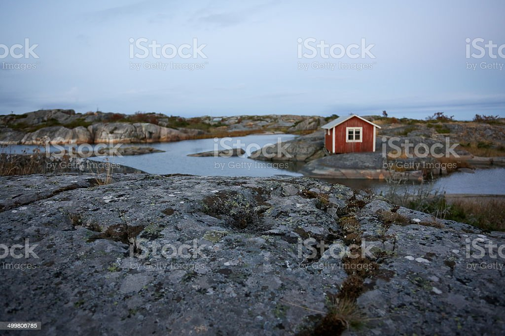 Swedish house in archipelago stock photo