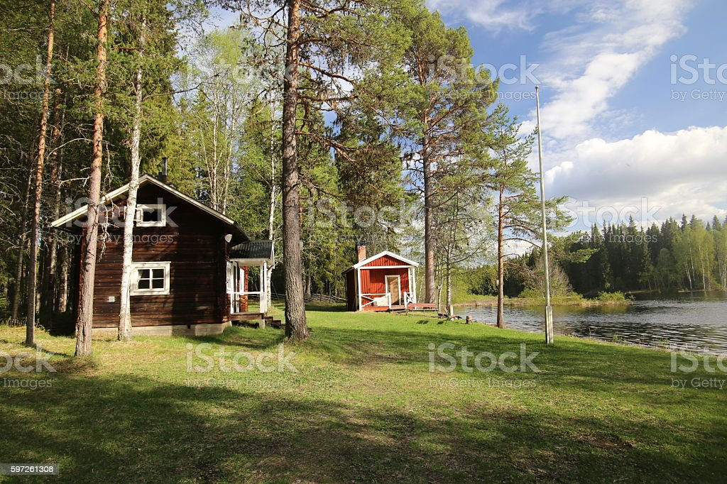 Swedish house in the nature in Jaemtland stock photo