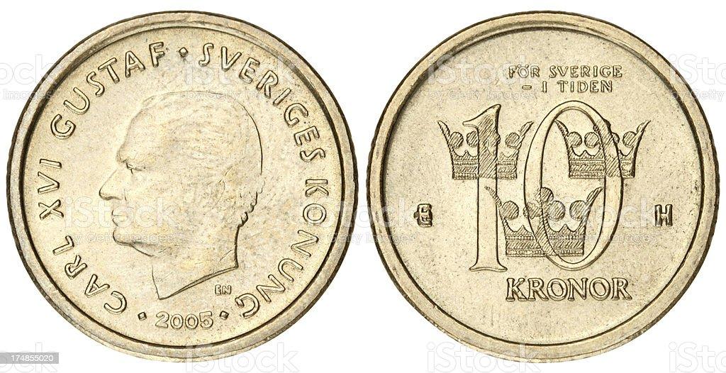 Swedish Kronas coin on white background stock photo