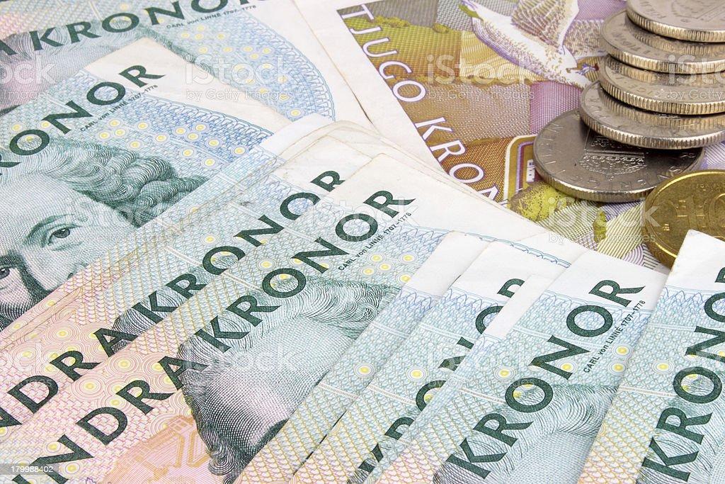 Swedish Kroner Notes & Coins stock photo