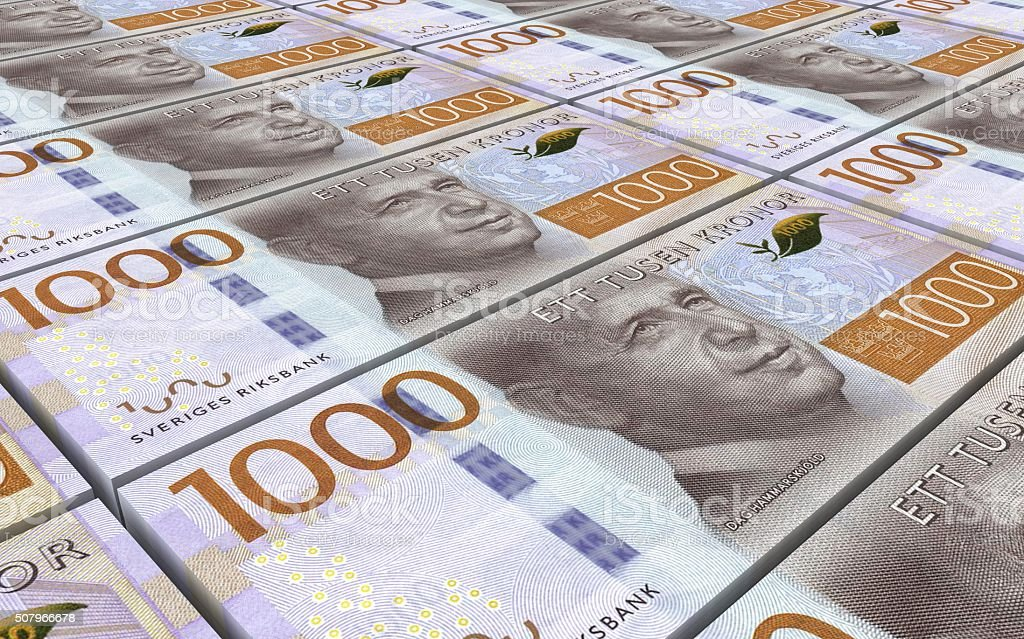 Swedish kronor bills stacks background. stock photo