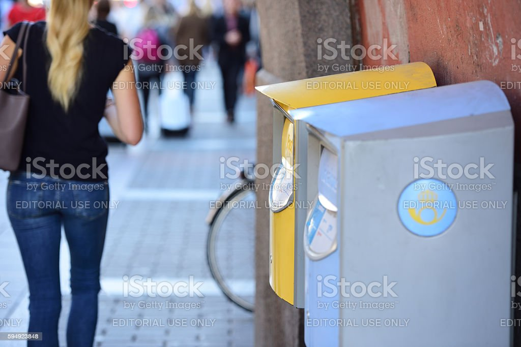 Swedish mailboxes on Kungsgatan in central Stockholm stock photo