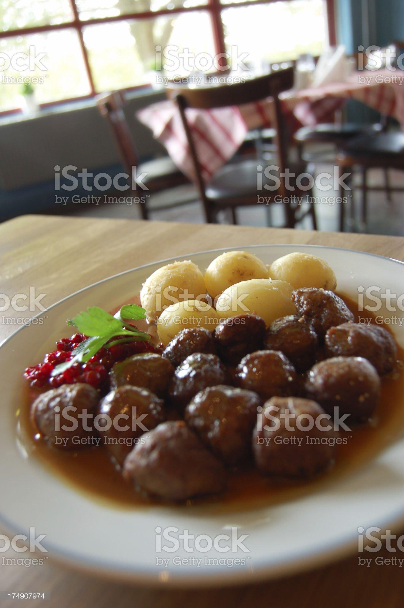 Swedish meatballs lunch royalty-free stock photo