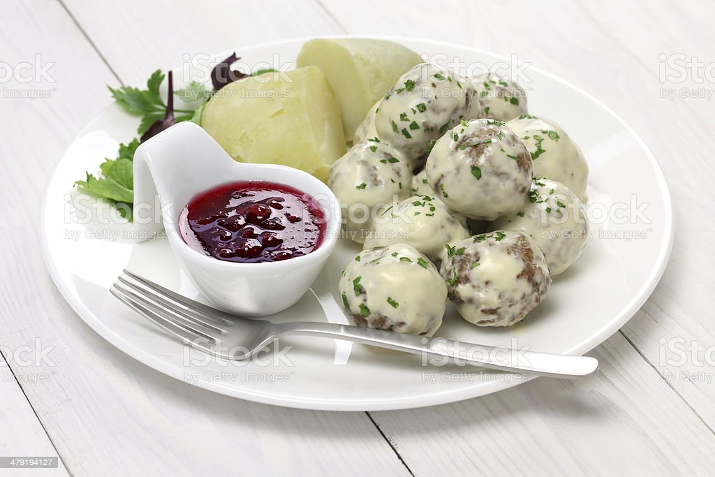 Swedish meatballs, svenska kottbullar stock photo