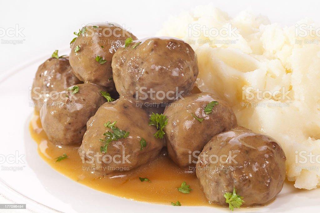 Swedish Meatballs with Mashed Potato stock photo