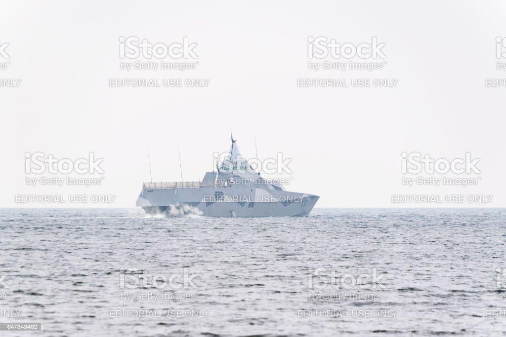 Swedish navy Visby class stealth corvette stock photo