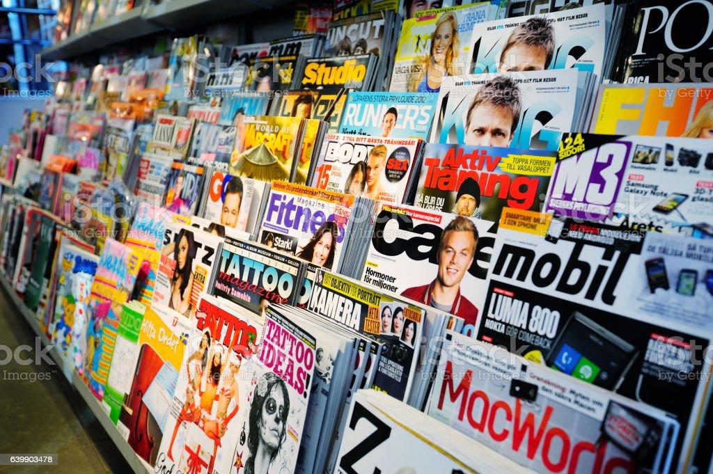 Swedish news stand, mixed magazines stock photo