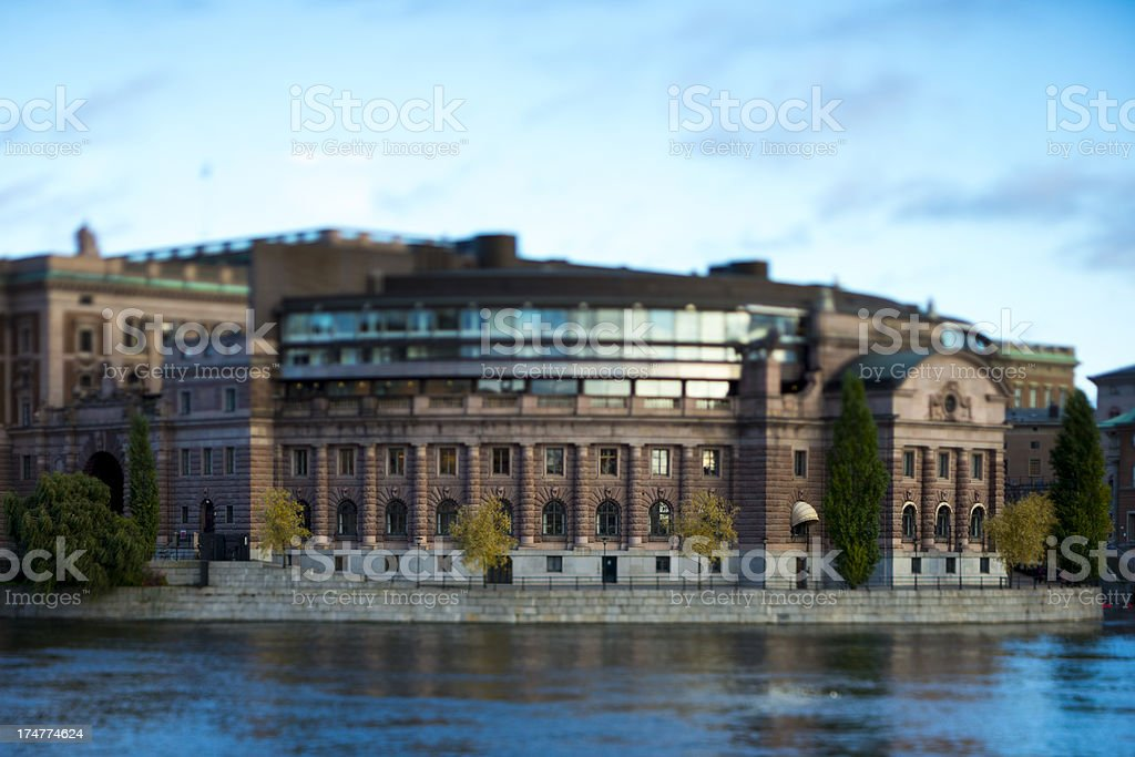 Swedish parliament building at sunset stock photo
