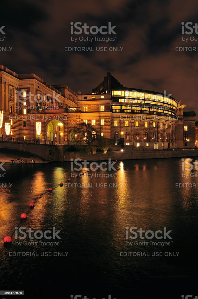 Swedish parliament building stock photo
