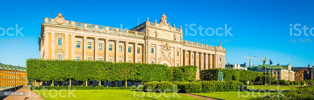 Swedish Parliament House Riksdagshuset sunrise panorama Stockholm Sweden stock photo