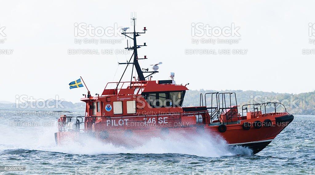 Swedish pilot boat, Pilot 746 SE stock photo