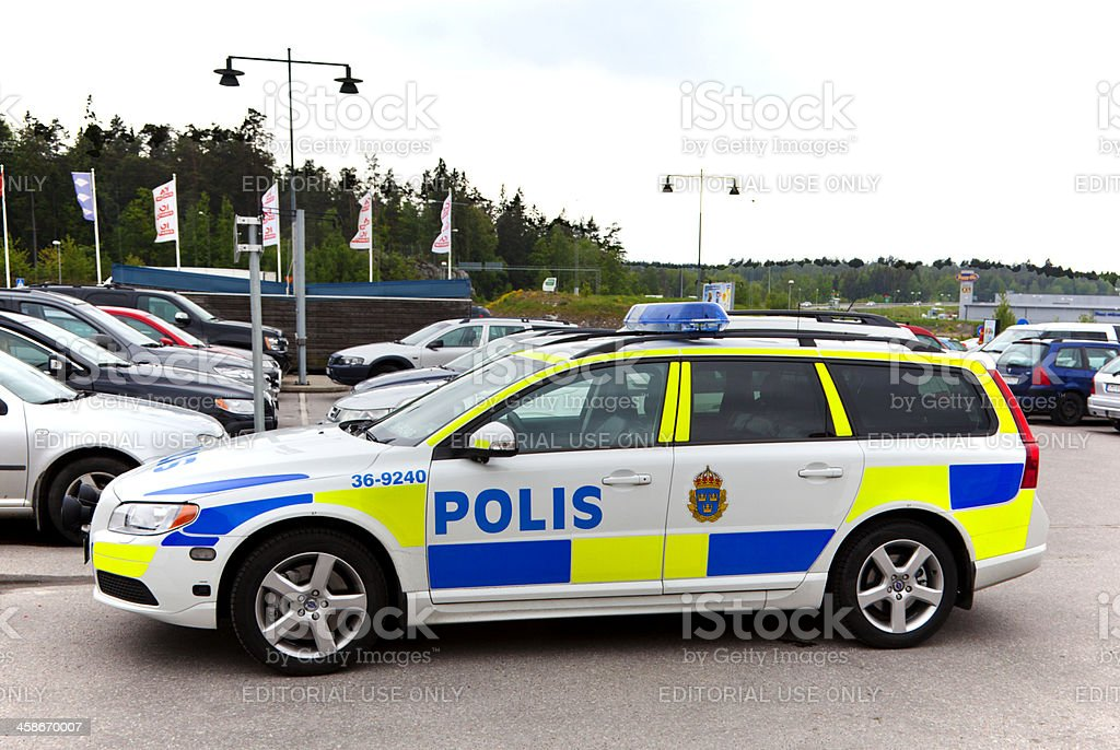 Swedish police car on a parking lot. stock photo