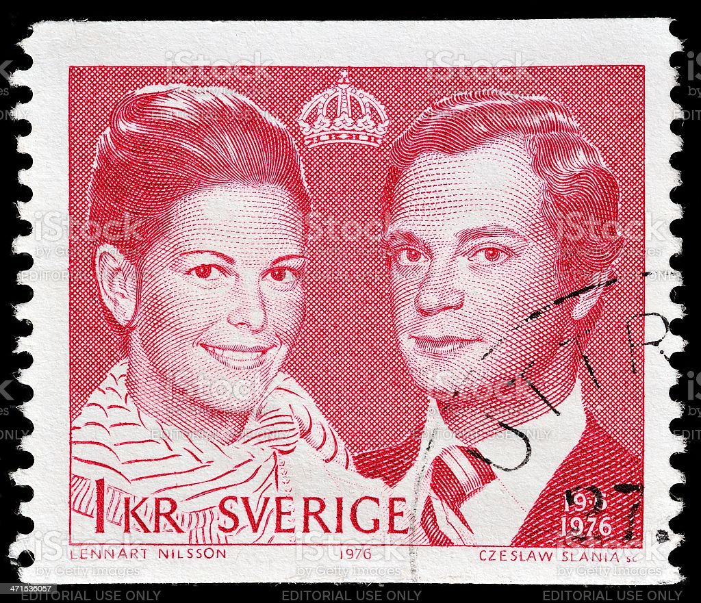 Swedish post stamp stock photo