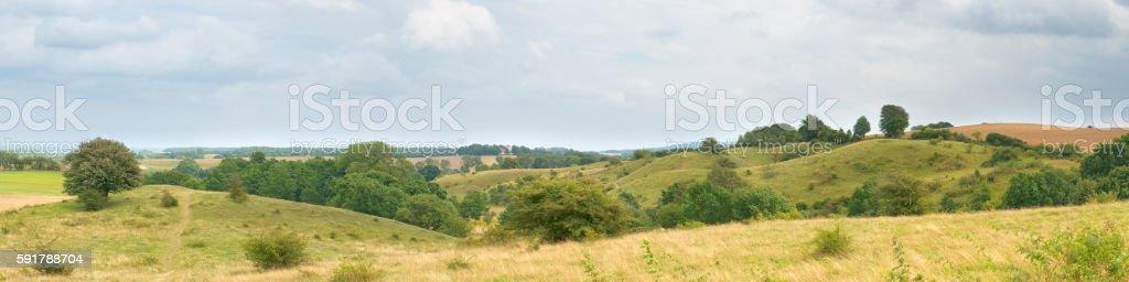 Swedish rolling landscape panorama stock photo