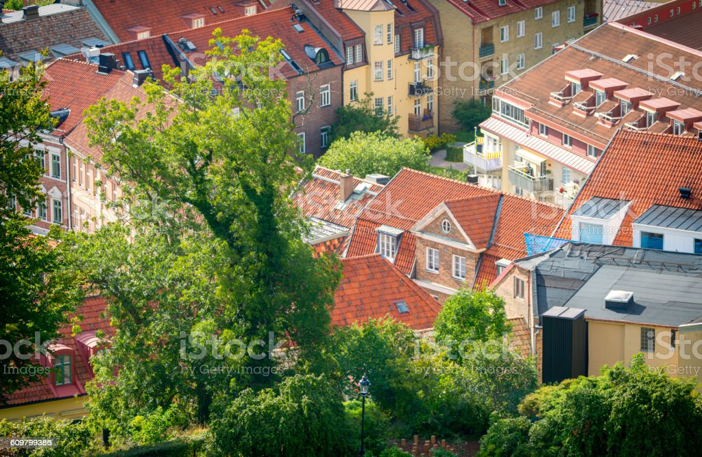 Swedish rooftops stock photo