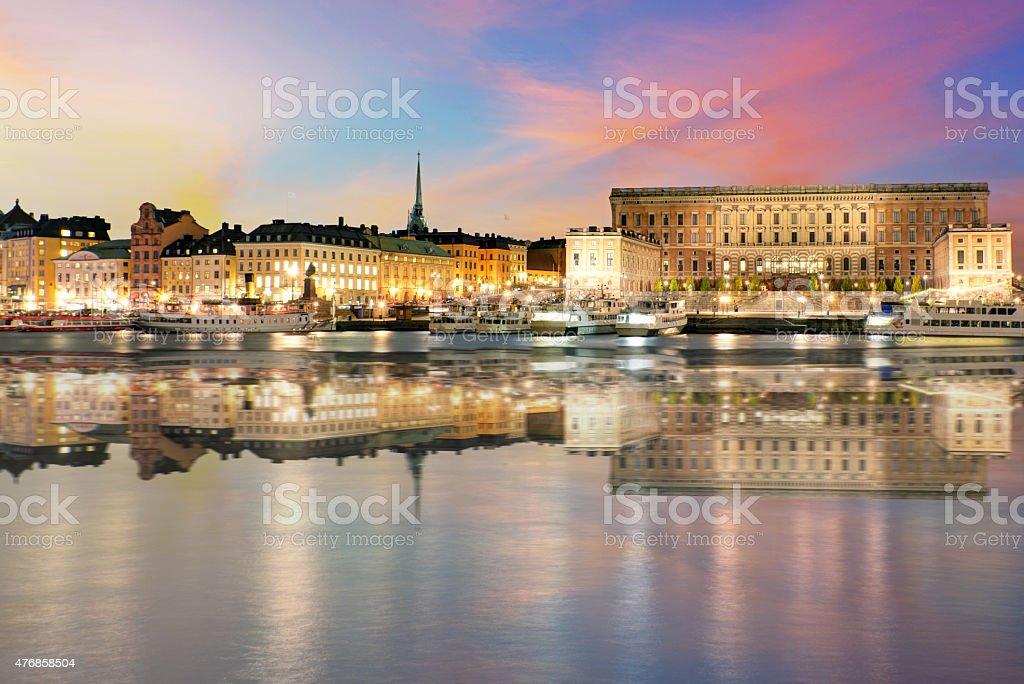 Swedish royal palace in Stockholm at night stock photo