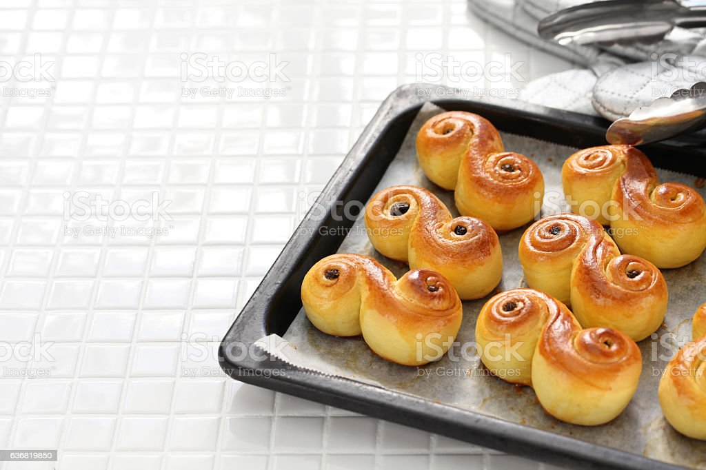 swedish saffron buns, lussekatt stock photo