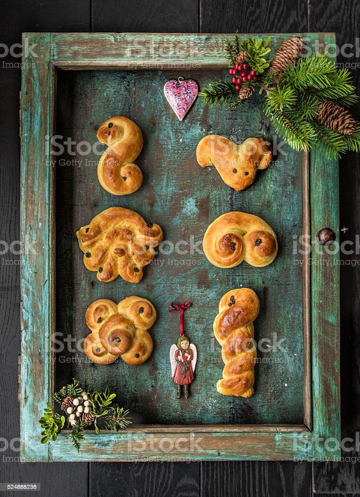 Swedish saffron buns stock photo