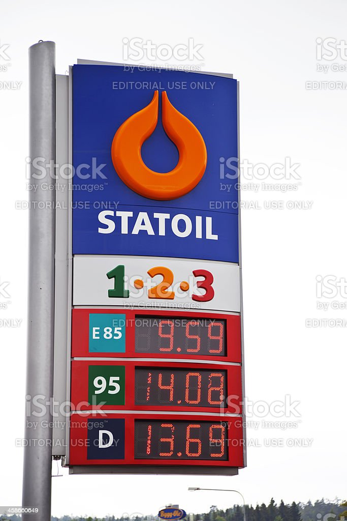 Swedish Statoil sign with prices for petrol, diesel and ethanol. stock photo