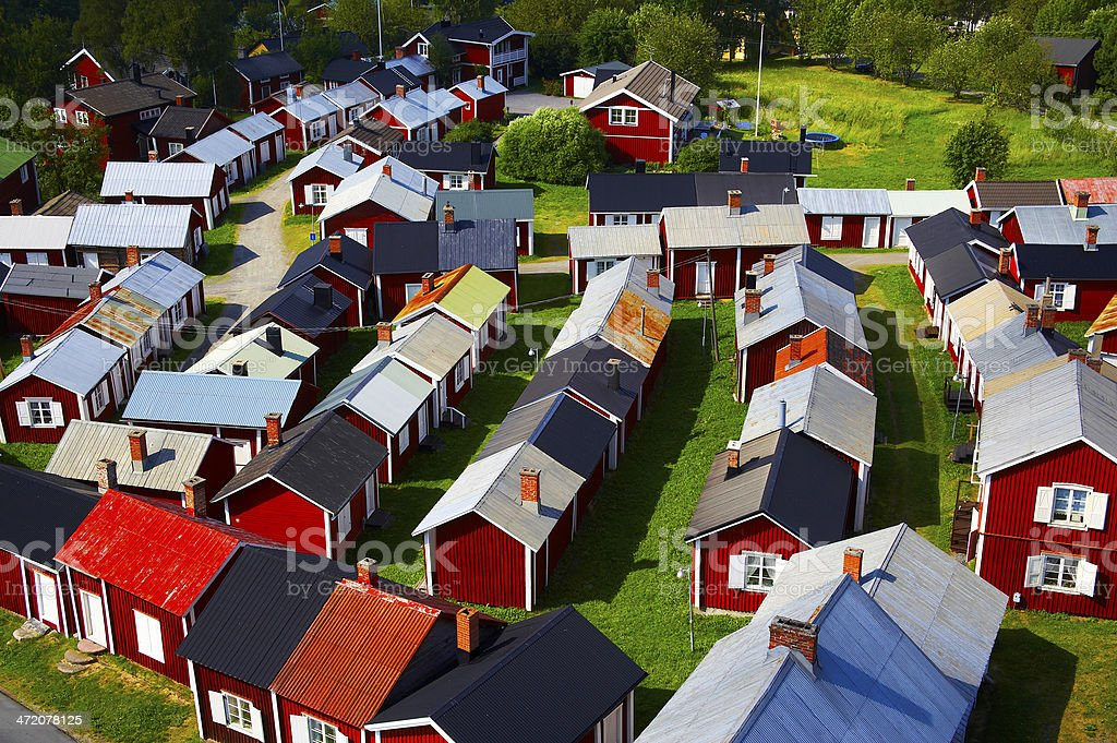 Swedish summer cottages at the lake stock photo