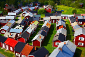 Swedish summer cottages at the lake