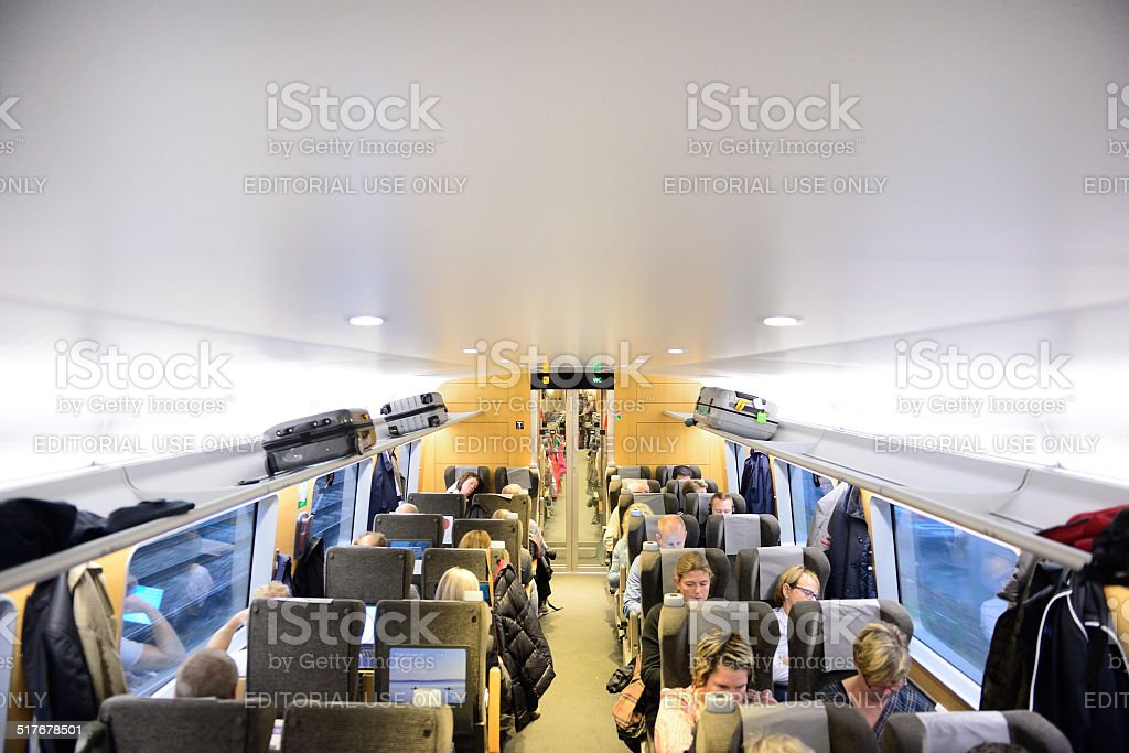 Swedish travellers in train stock photo