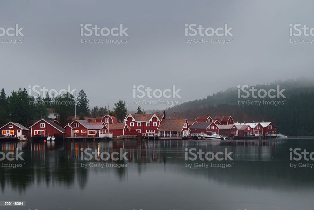Swedish village with red houses in the evening stock photo
