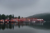Swedish village with red houses in the evening