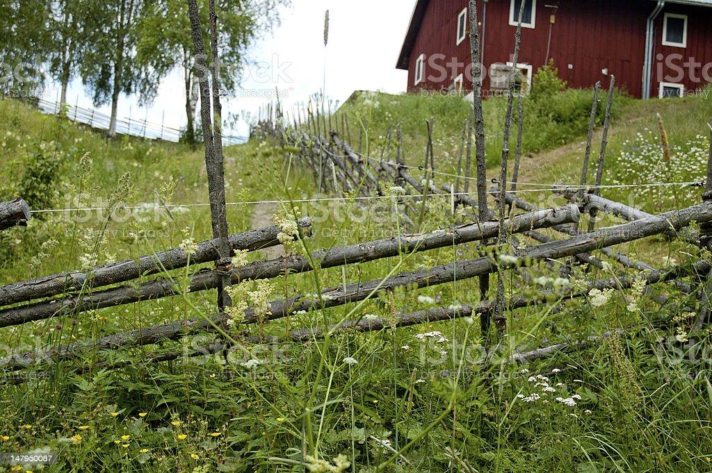 Swedish Wooden Pole Fence royalty-free stock photo