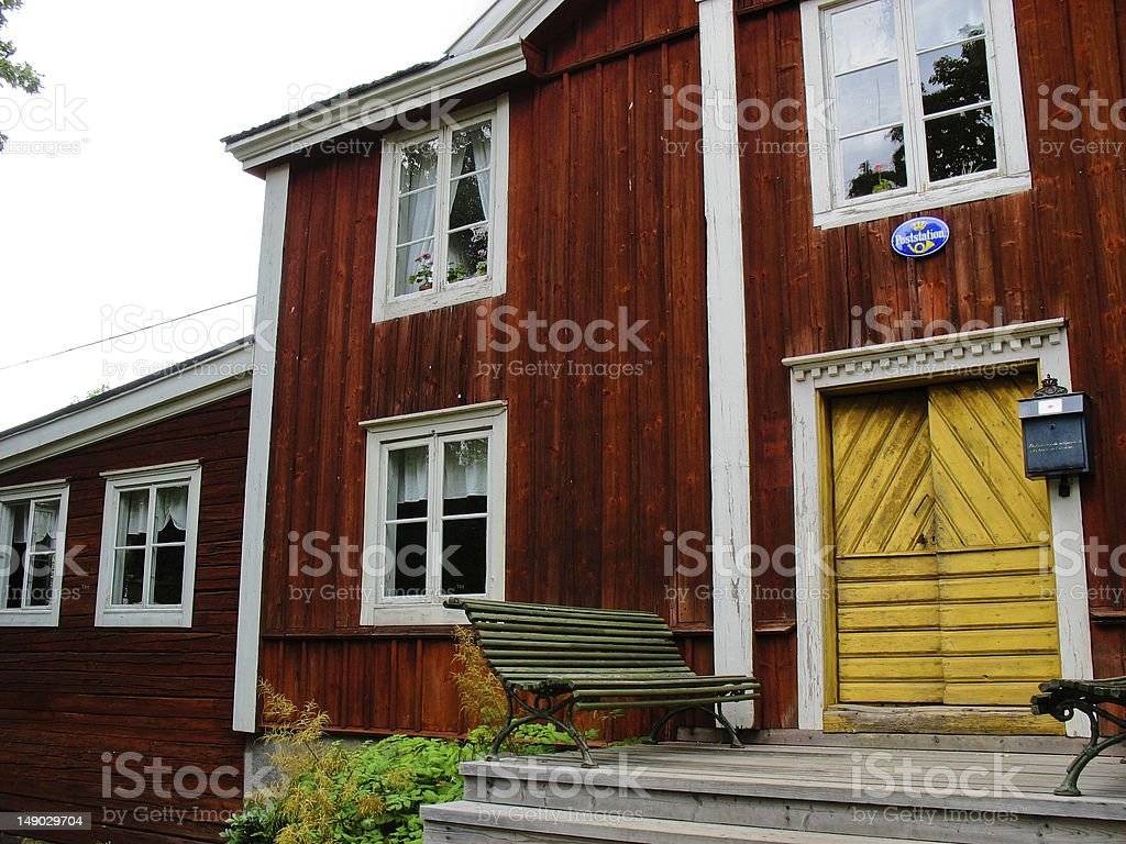 Swedish yellow and red cabin royalty-free stock photo