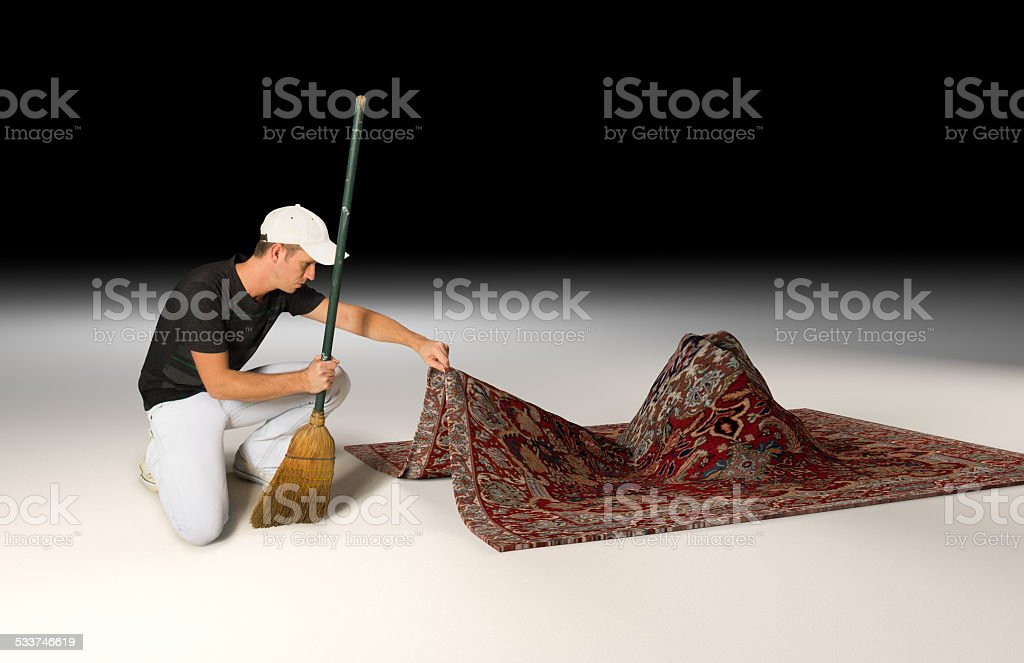 Marvelous Sweep It Under The Rug Stock Photo
