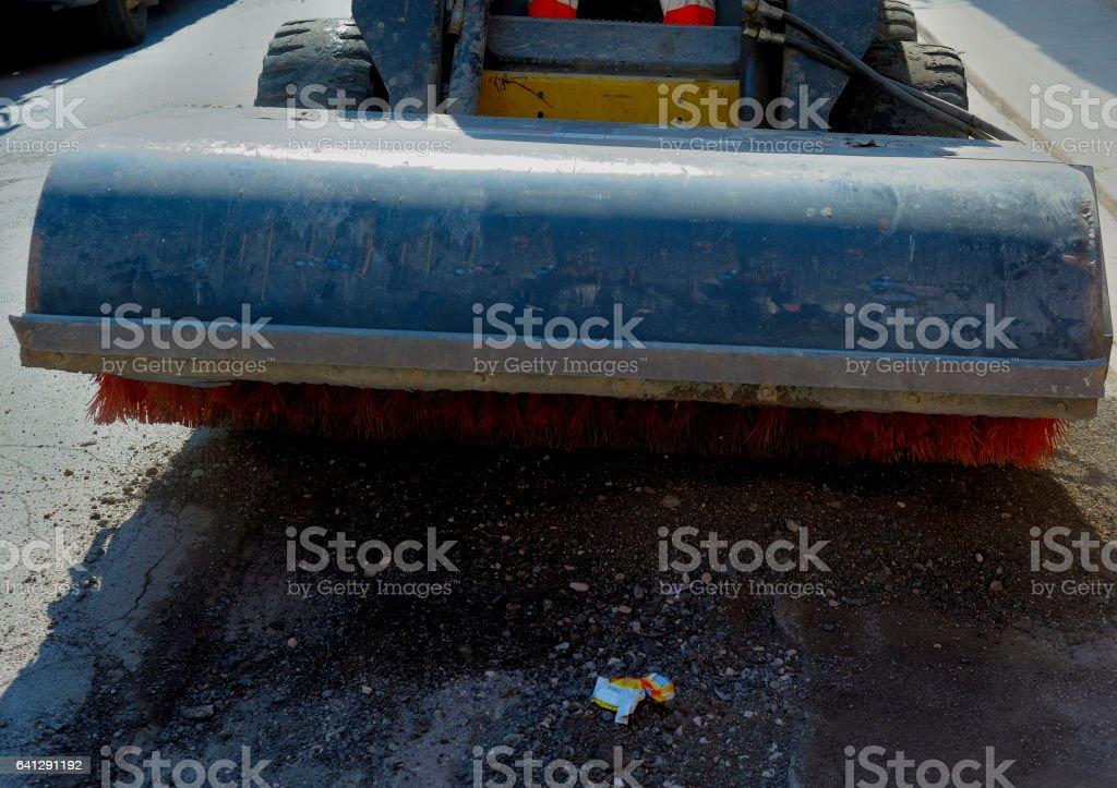 Sweeper attachments mini excavator. stock photo
