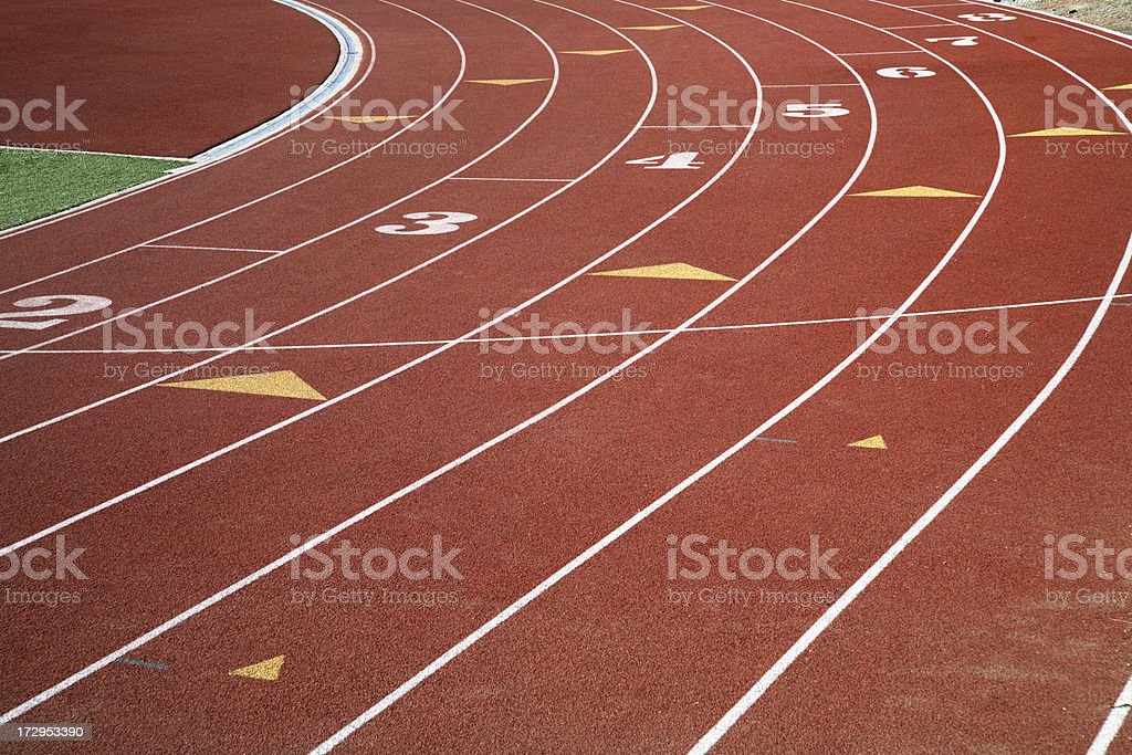 Sweeping lanes of a high school track royalty-free stock photo