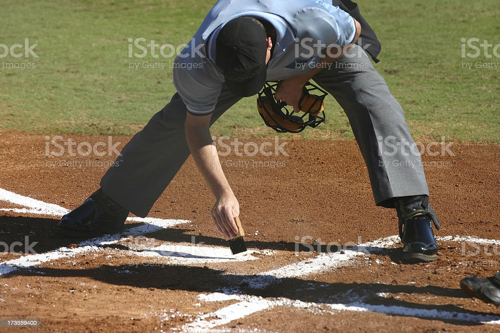 Sweeping off the plate stock photo