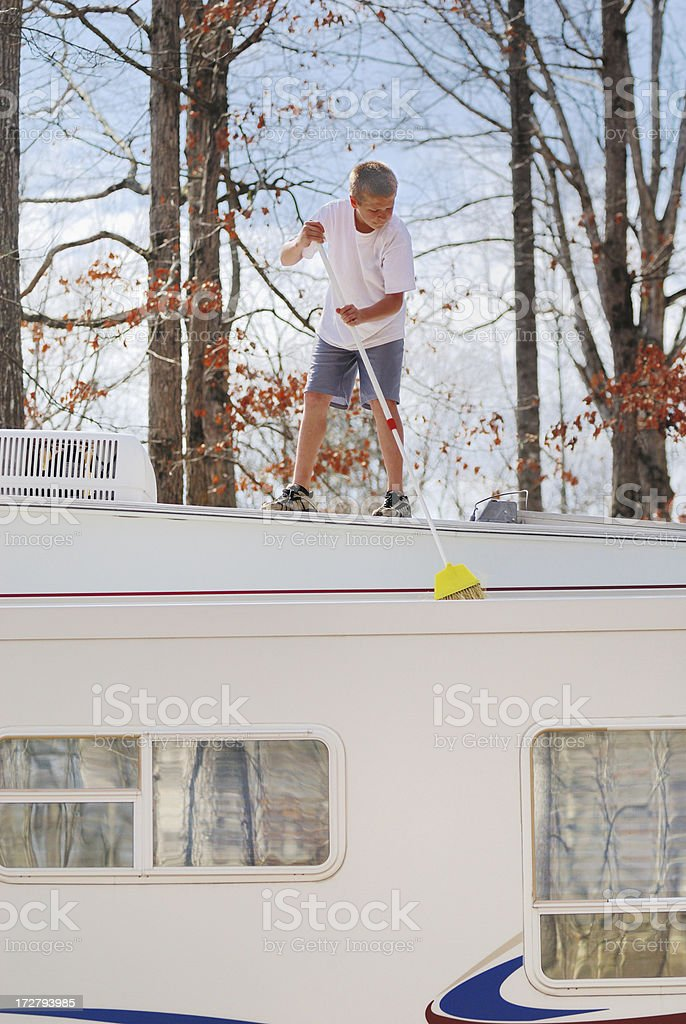 Sweeping RV slideout roof stock photo