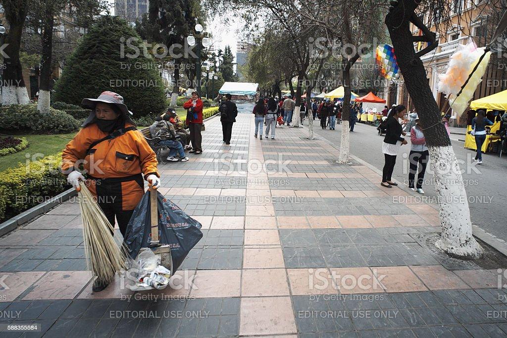 Sweeping the Street in La Paz stock photo