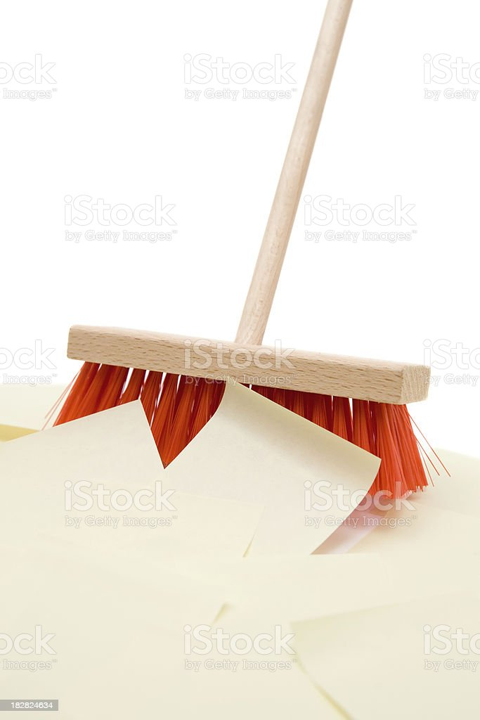 Sweeping Up Blank Notes royalty-free stock photo