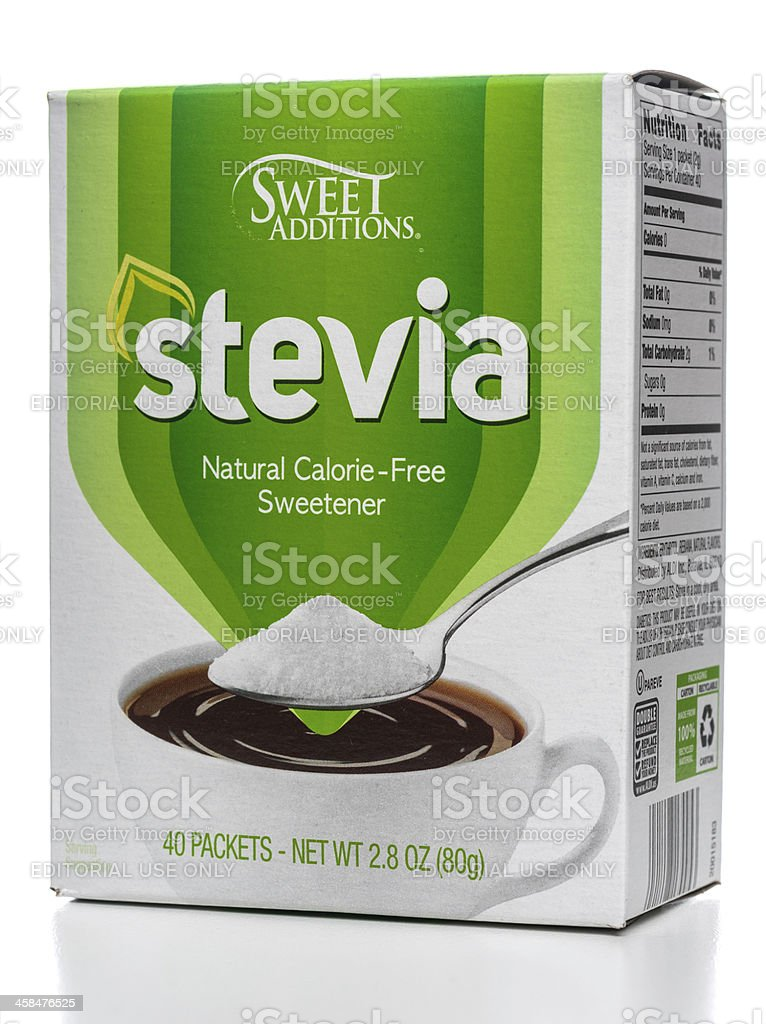 Sweet Additions stevia sweetener box stock photo