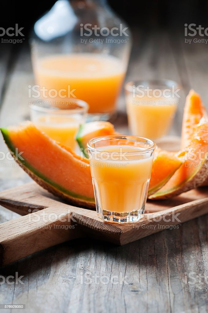Sweet alcoholic liqueur with melon stock photo