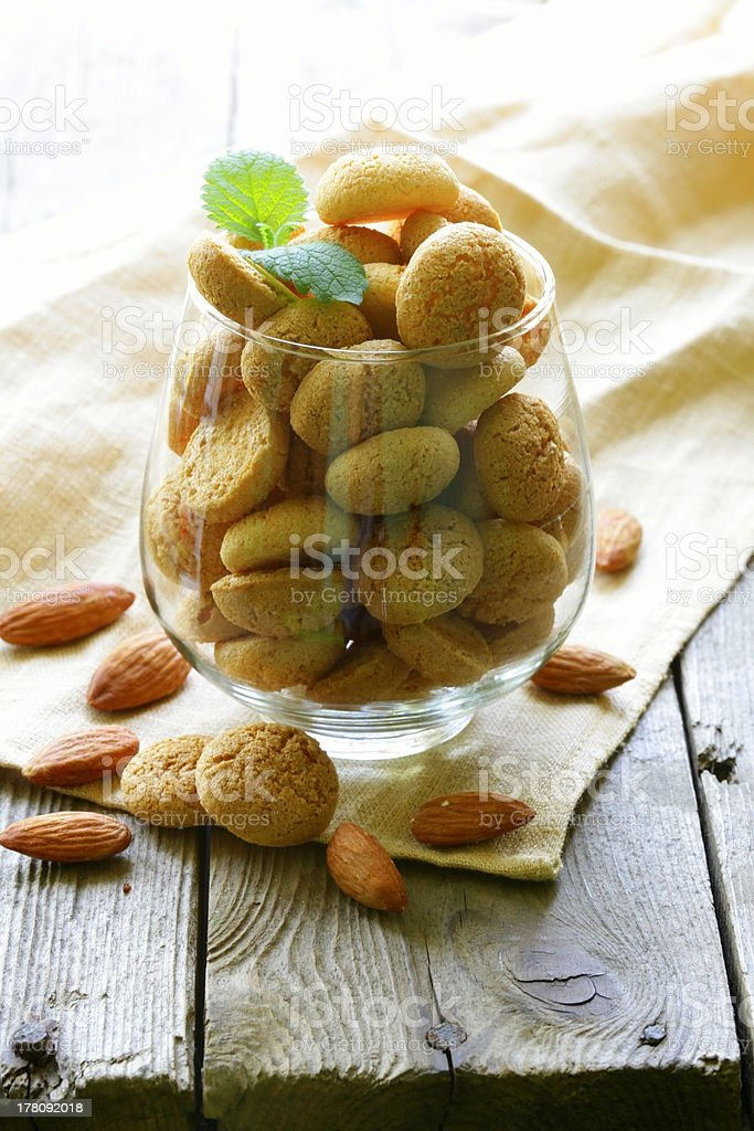 sweet almond cookies biscuits (amaretti) royalty-free stock photo