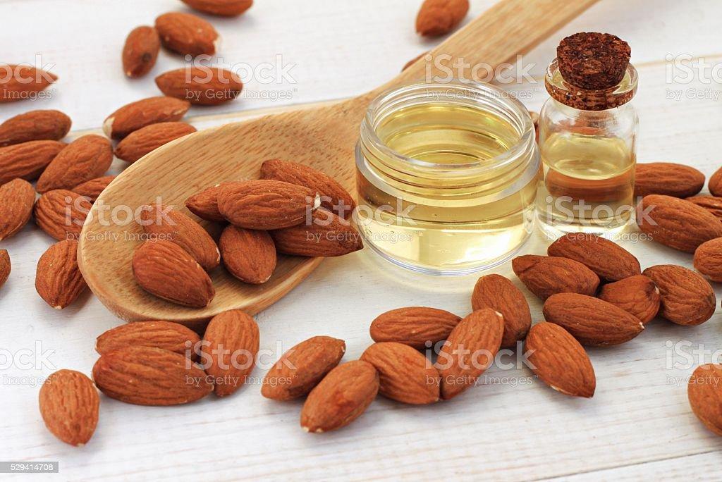 Sweet almond oil in bottles stock photo