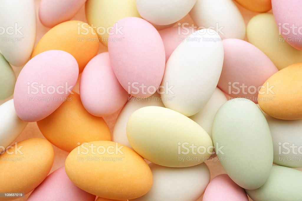 Sweet almonds in pastel colors royalty-free stock photo