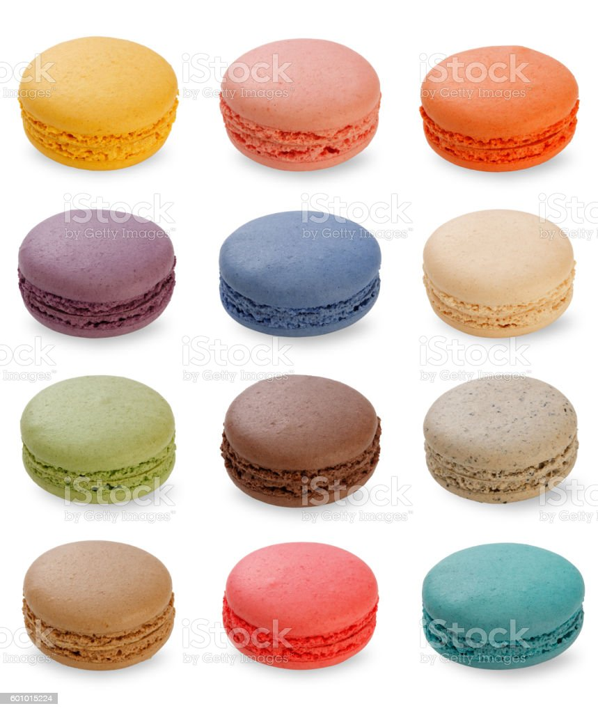 Sweet and colourful french macaroons or macaron on white background, stock photo