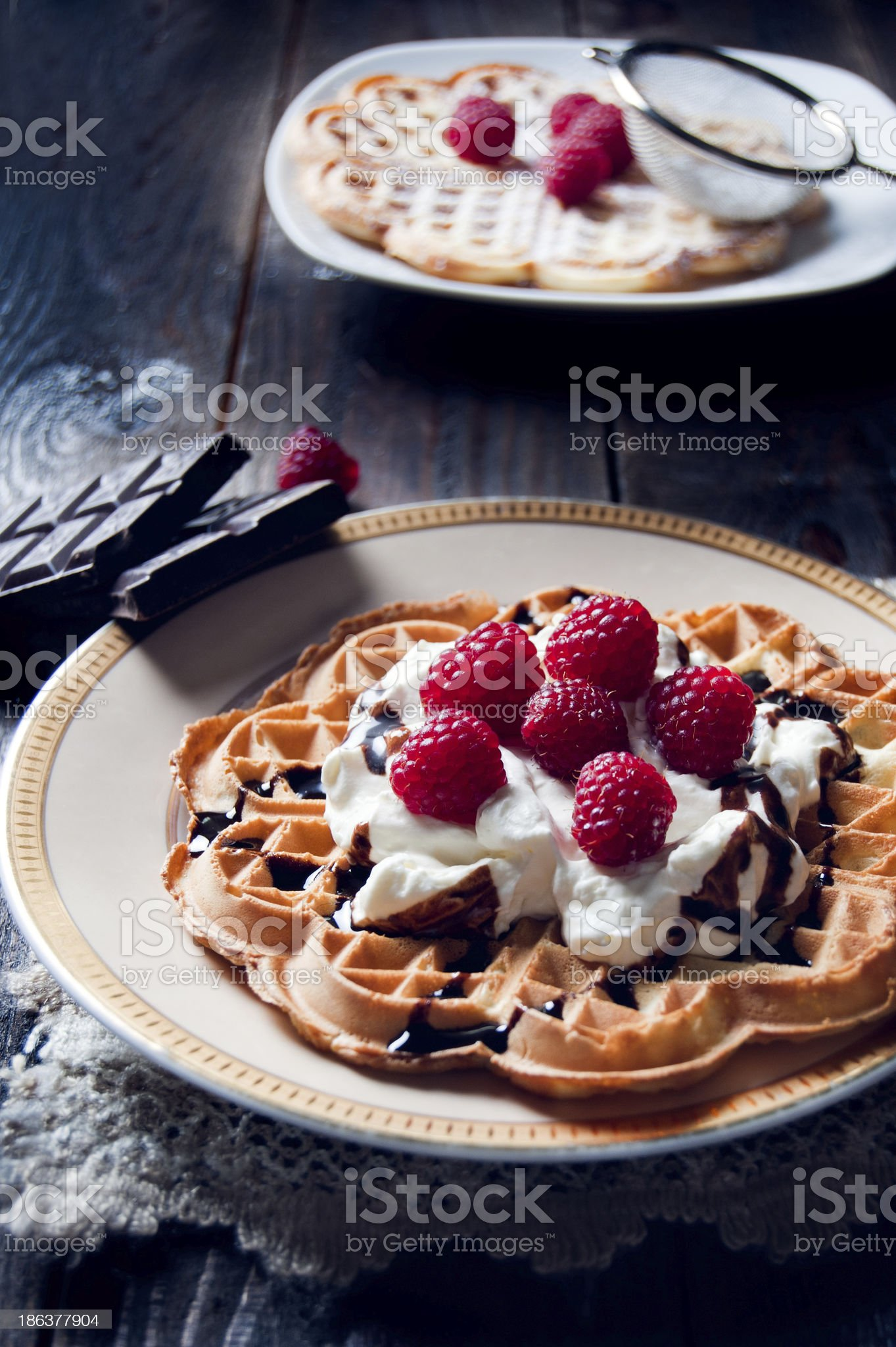 Sweet and delicious waffles with fruits royalty-free stock photo