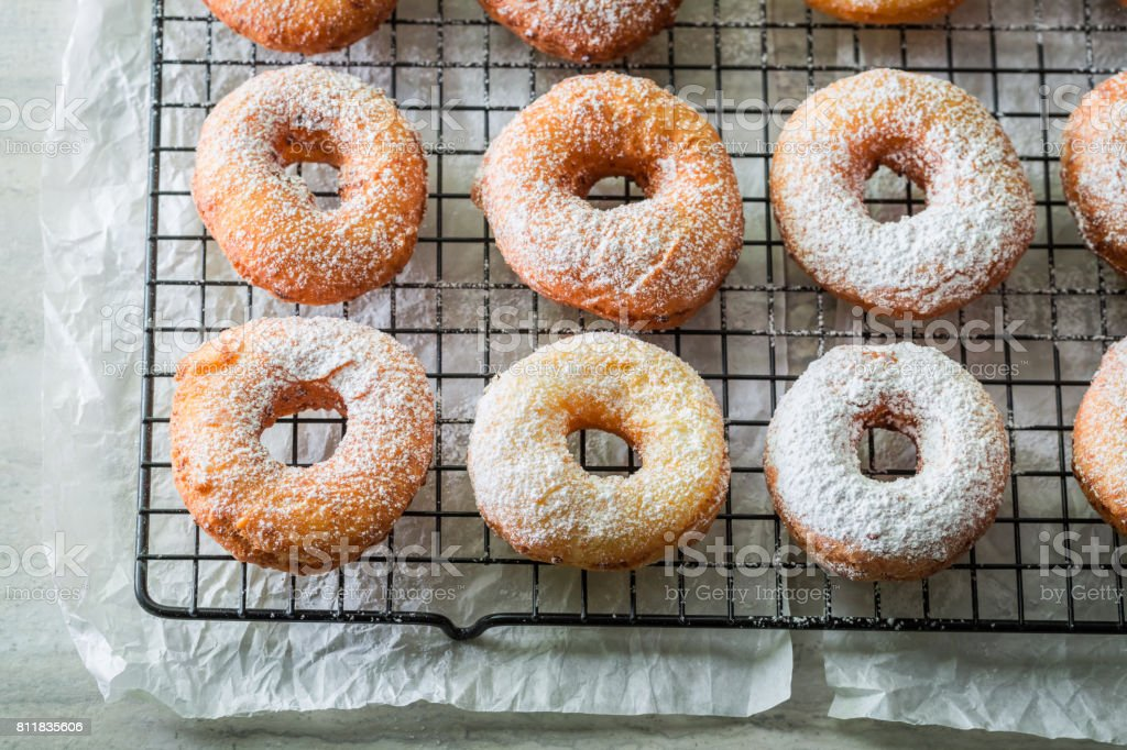 Sweet and hot homemade donuts ready to eat stock photo