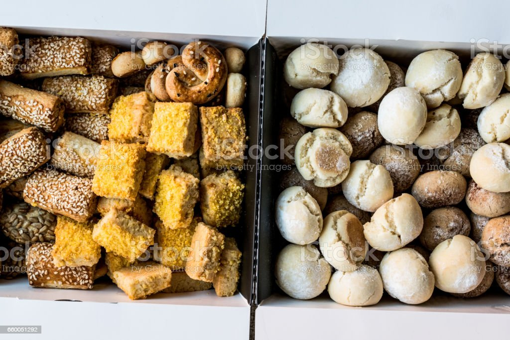 Sweet and Salty Turkish pastries in box. stock photo