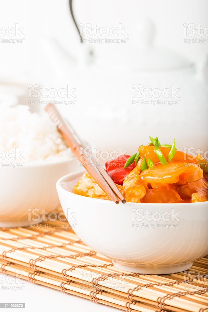 Sweet and Sour Chicken Closeup Portrait stock photo