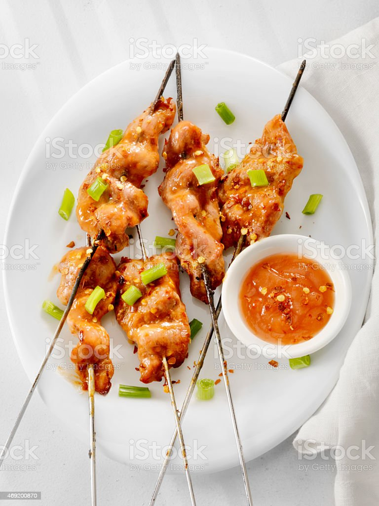 Sweet and Sour Chicken Skewers stock photo