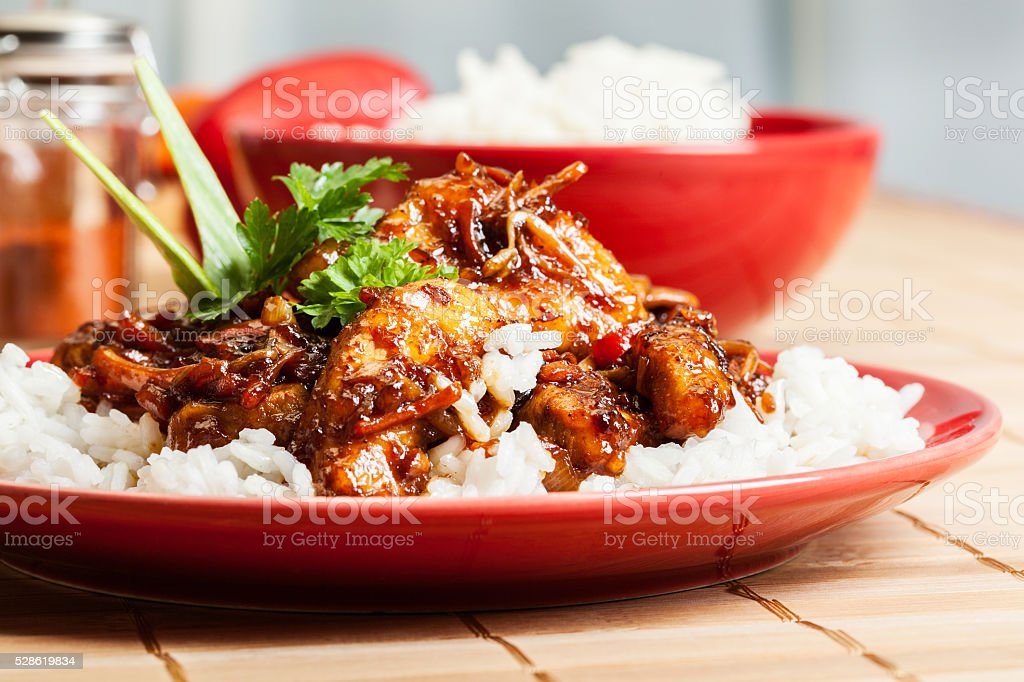 Sweet and sour pork and rice stock photo
